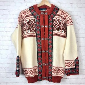 Dale Of Norway Floral Knit Nordic Sweater Cardigan